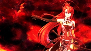 Preview wallpaper anime, background, girl, hair, red, sword