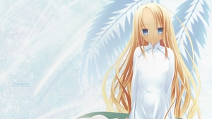 Preview wallpaper anime, background, blond, girl, look, young