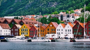 Preview wallpaper boats, home, mountains, norway, sea