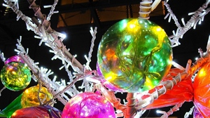 Preview wallpaper balloons, branch, bright, christmas decorations, colorful
