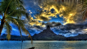 Preview wallpaper beach, branches, clouds, mountain, palm trees, sand, sea, top