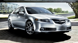 Preview wallpaper 2007, acura, asphalt, building, cars, front view, grass, nature, silver metallic, street, style, tl, trees