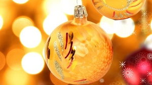 Preview wallpaper balloons, christmas decorations, close-up, pair, pattern, yellow
