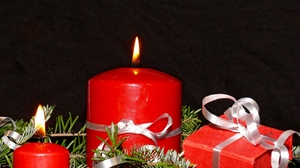 Preview wallpaper candles, christmas, fire, holiday, needles, tape
