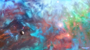 Preview wallpaper clouds, colorful, planet, space, stars, universe