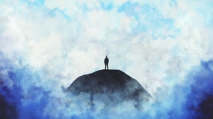 Preview wallpaper clouds, hill, loneliness, silhouette
