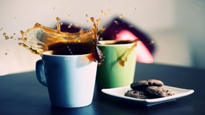 Preview wallpaper coffee, cookies, glasses, plates, splashes