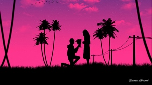 Preview wallpaper art, couple, love, night, romance, silhouettes