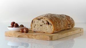 Preview wallpaper bread, cutting board, olives, pastries