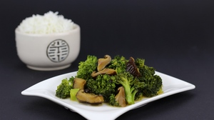 Preview wallpaper broccoli, dinner, mushrooms, rice