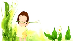 Preview wallpaper drawing, flowers, girl, plants