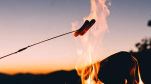 Preview wallpaper camping, fire, food, sausages