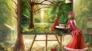 Preview wallpaper dress, forest, girl, painting, red