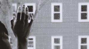 Preview wallpaper glass, gloom, hand, melancholy, rain, sadness