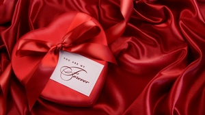 Preview wallpaper bow, gift, heart, red, ribbon, satin