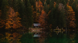 Preview wallpaper autumn, forest, house, italy, lake