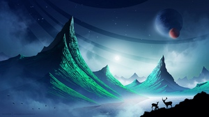 Preview wallpaper art, deer, landscape, mountains, night, space