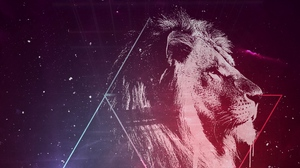 Preview wallpaper art, lion, starry sky, triangles