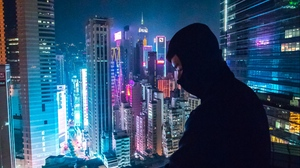 Preview wallpaper loneliness, mask, night city, roof, skyscraper