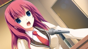 Preview wallpaper anime, girl, microphone, speech, stand