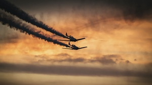 Preview wallpaper airplanes, military, sky, smoke