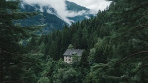Preview wallpaper forest, house, mountains, nature, trees