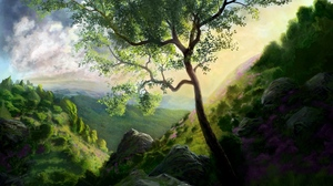 Preview wallpaper art, landscape, mountains, painting, tree