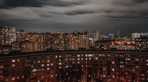 Preview wallpaper aerial view, architecture, buildings, city, night