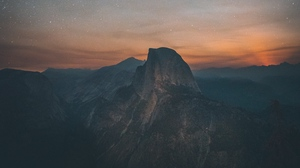 Preview wallpaper mountains, night, starry sky, summit, united states, yosemite valley