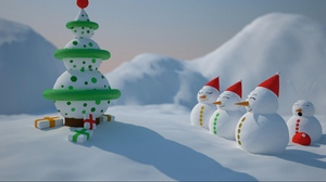 Preview wallpaper christmas tree, holiday, number, presents, snow, snowmen
