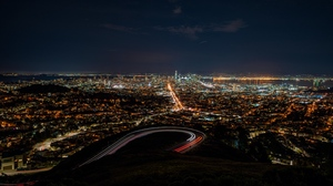 Preview wallpaper aerial view, city lights, night, night city, overview, san francisco, usa