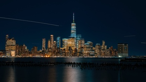 Preview wallpaper beach, new york, night city, panorama, skyscrapers, usa