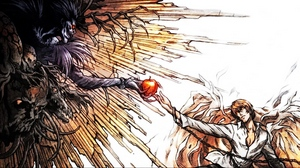Preview wallpaper art, death note, light yagami, parody, ryuk, the creation of adam