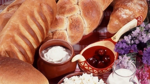 Preview wallpaper bread, cheese, fruit, pastries