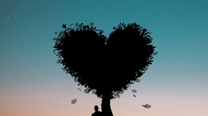 Preview wallpaper heart, love, person, silhouette, tree