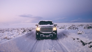 Preview wallpaper black, front view, gmc, gmc sierra, offroad, pickup, snow, suv, winter