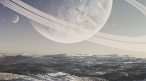 Preview wallpaper planet, snow, space, surface, winter