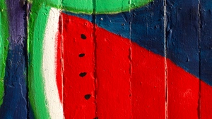 Preview wallpaper art, colorful, red, wall, watermelon