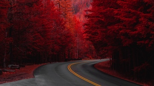 Preview wallpaper landscape, mountain, red, road, trees, turn