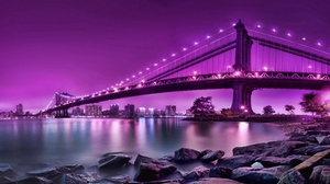 Preview wallpaper bridge, city, city on the water, reflection, river, rocks