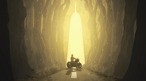 Preview wallpaper art, fantastic, forest, motorcyclist, muzzle, silhouette, wolf