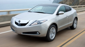 Preview wallpaper 2009, acura, cars, front view, mountains, sea, silver metallic, speed, style, zdx