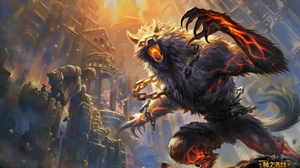 Preview wallpaper animal, art, castle, smite, wolf