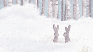 Preview wallpaper art, forest, hares, snow, winter