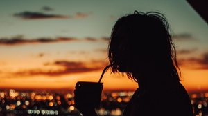 Preview wallpaper night city, silhouette, solitude, sunset