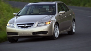 Preview wallpaper 2004, acura, asphalt, beige metallic, cars, front view, grass, speed, style, tl