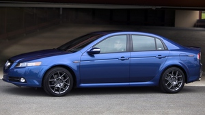 Preview wallpaper 2007, acura, asphalt, blue, buildings, cars, side view, style, tl