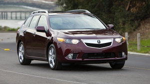 Preview wallpaper 2010, acura, asphalt, cars, cherry, front view, nature, speed, style, trees, tsx