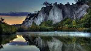 Preview wallpaper evening, mountains, rocks, silence, water smooth surface
