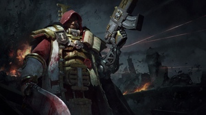 Preview wallpaper armor, inquisition, warhammer, warrior, weapons